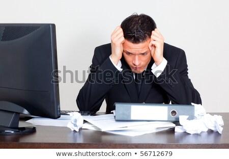 Preocupado empresário papelada estressante homens executivo Foto stock © dacasdo