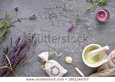 Aromático secar lavanda flores bambu Foto stock © IngridsI