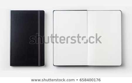 Abrir novo branco caderno madeira fundo Foto stock © yoshiyayo
