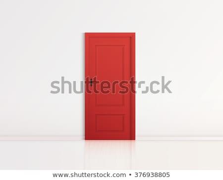 Kapalı kırmızı kapı duvar ev arka plan Stok fotoğraf © happydancing