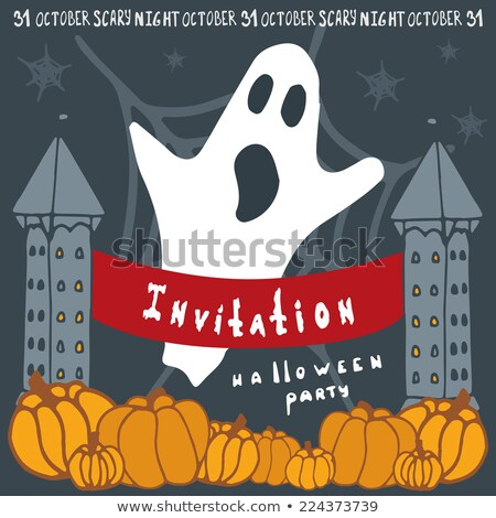Halloween invitation with spooky castle. EPS 8 Stock photo © beholdereye