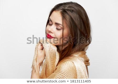 Stockfoto: Jonge · dame · hoofddoek · zonnebril · zee · hemel