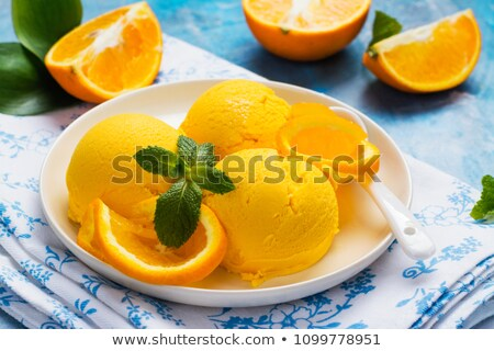 Orange sorbet fruits restaurant dessert Photo stock © M-studio