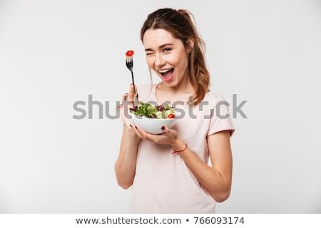 genç · kız · mutfak · yeme · salata · gülen · kız - stok fotoğraf © rob_stark