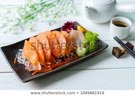 Japonês cozinha salmão comida peixe limão Foto stock © ozaiachin