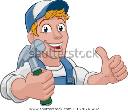 Tradesman holding a hammer Stock photo © photography33