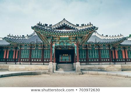 Geleneksel çatı saray detay Seul Güney Kore Stok fotoğraf © papa1266