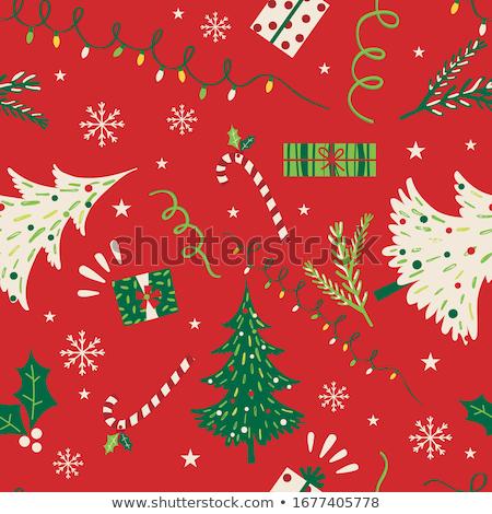 Seamless pattern with christmas-trees and snowflakes Stock photo © boroda