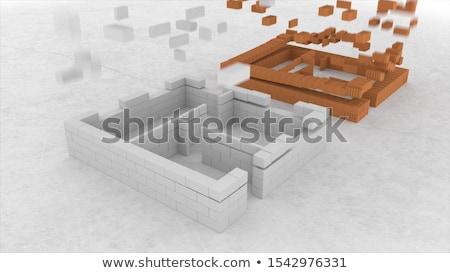 Earth building blocks falling Stock photo © Harlekino