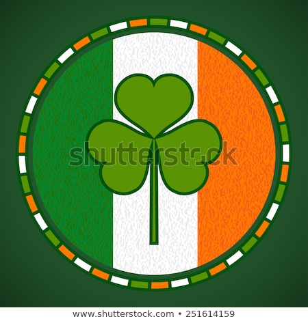 irish flag in circle with shamrocks stock photo © marinini
