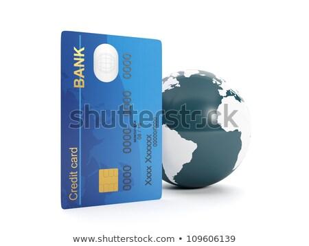 Foto stock: Ilustração · 3d · cartão · de · crédito · terra · computador · globo · mapa