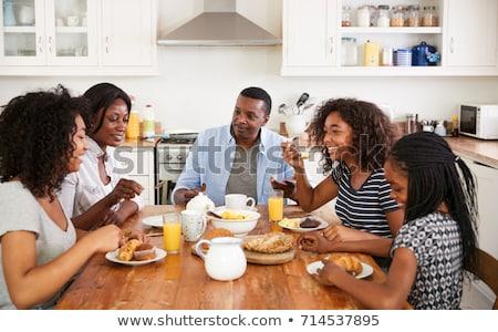 desayuno · negro · alimentos · huevo · naranja - foto stock © Filata