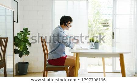 ストックフォト: ボクサー · 小さな · ビジネスマン · ノートパソコン · 孤立した · 白