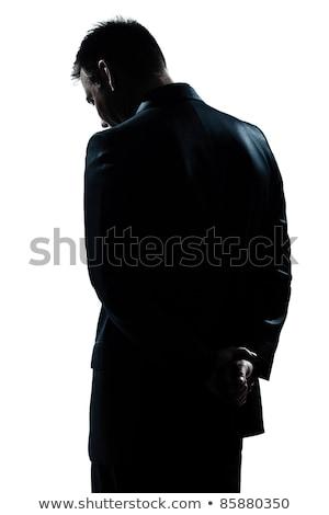 Hátsó nézet férfi görbület művészet festmény kalap Stock fotó © zzve