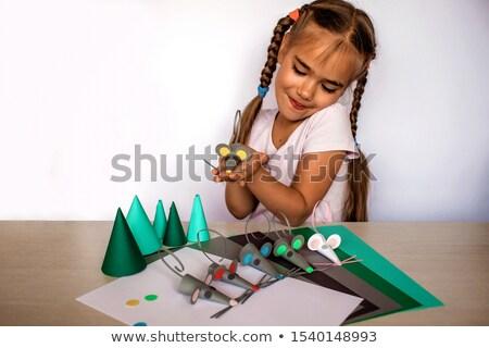 Feito à mão fantoche isolado branco crianças feliz Foto stock © Catuncia
