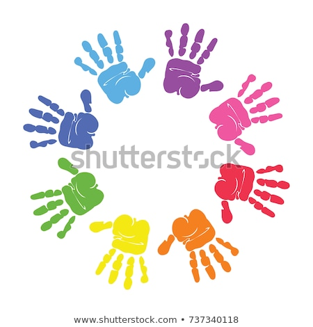 Hands prints made by children isolated on white. Stock photo © luckyraccoon