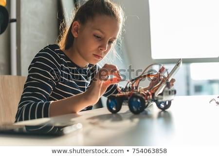 Kislány javít számítógép alkatrészek stúdiófelvétel semleges Stock fotó © gewoldi