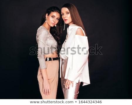 siyah · elbise · esmer · yüksek · topuklu · beyaz · kadın · kız - stok fotoğraf © dolgachov