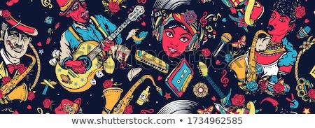 женщину саксофон женщины микрофона музыку концерта Сток-фото © Aikon