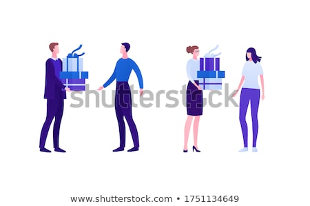 woman holding two giftboxes Stock photo © chesterf