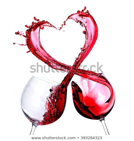 Photo stock: Coeur · vagues · vin · rouge · romantique · symétrique