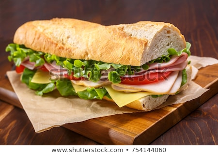 Fast food baguette sandwich sla tomaat ham Stockfoto © natika