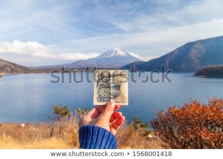 富士山 湖 冬 日本 空 水 ストックフォト © shihina
