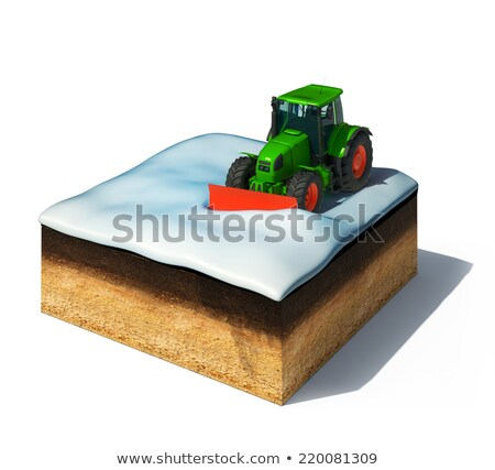 tractor plowing snow on a yard stock photo © tainasohlman