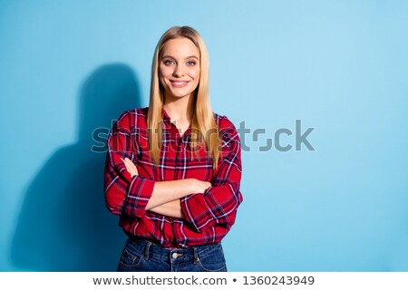 Beautiful blond lady having fabulous smile Stock photo © konradbak
