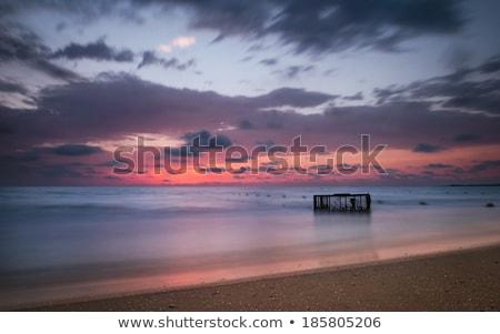 Foto stock: Praia · tropical · vazio · gaiola · mar · pôr · do · sol · colorido
