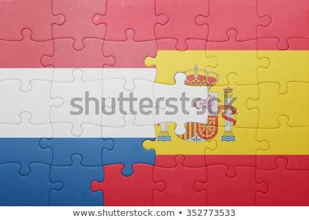 Stock fotó: Spanyolország · Hollandia · zászlók · puzzle · izolált · fehér