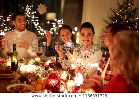 tafel · christmas · man · voedsel · tabel · diner - stockfoto © monkey_business
