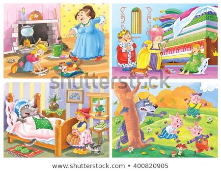 three little girls or princesses and fairy tale castle stock photo © carodi