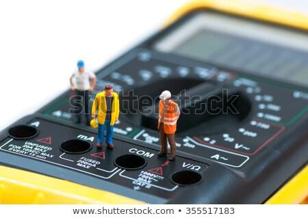 Miniatűr munkások felső makró fotó számítógép Stock fotó © Kirill_M