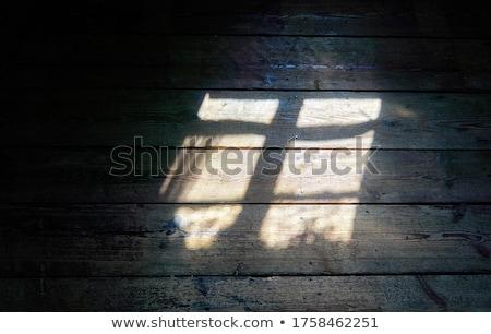 Witte oude houten venster landelijk steen Stockfoto © vavlt