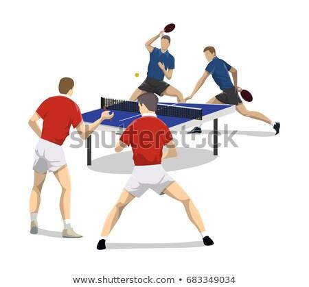 Négy tenisz játékosok szerver sebesség sziluett Stock fotó © leonido