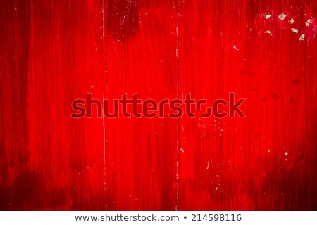 Foto stock: Wooden Plank With Cracked Red Paint