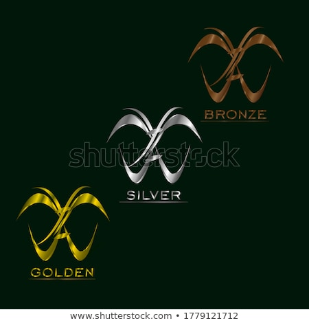 butterfly logo in gold and silver colors stock photo © shawlinmohd