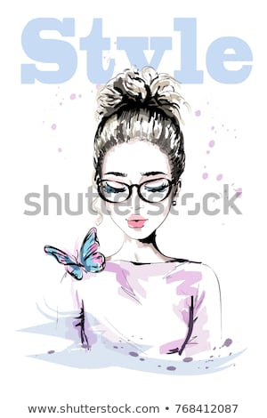 pretty blond lady with colorful butterflies stock photo © konradbak