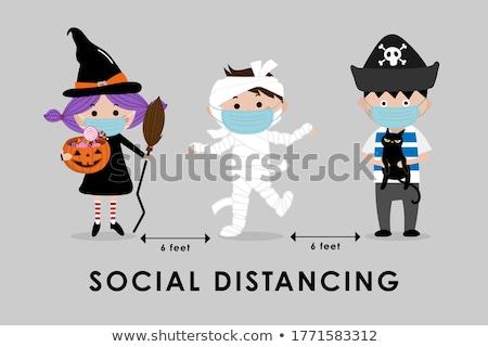 truque · halloween · cena · crianças · traje · crianças - foto stock © brittenham