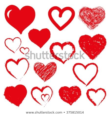 Set of stylized hand drawn hearts  stock photo © alevtina