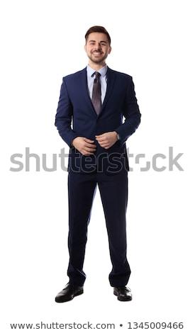 Portret biznesmen stałego odizolowany biały człowiek Zdjęcia stock © deandrobot