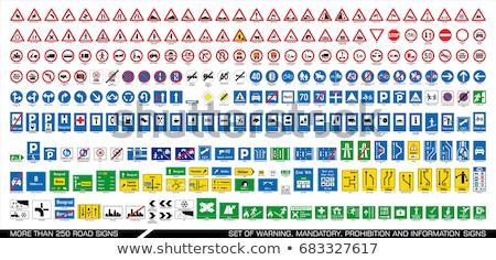 verkeersbord · waarschuwing · witte · weg · natuur · metaal - stockfoto © RAStudio