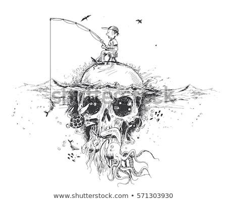 ストックフォト: Tシャツ · ヘルプ · スケルトン · 海
