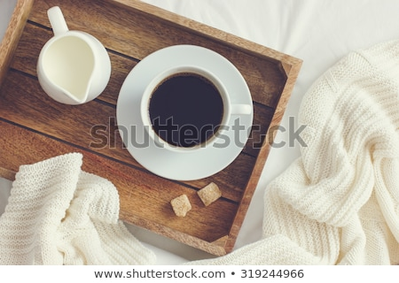 Closeup image of a breakfast in the bed Stock photo © deandrobot