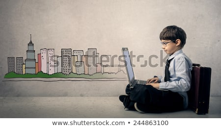 gyerekek · társasági · hálózatok · internet · csoport · számítógépek - stock fotó © vectorikart