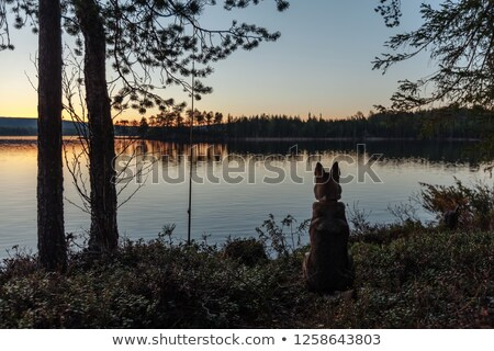 Sunset behind lake and forest stock photo © Juhku