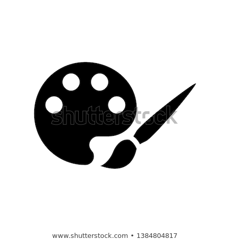 Modern Flat Icon of Brush and Palette with Paints Stock photo © smeagorl
