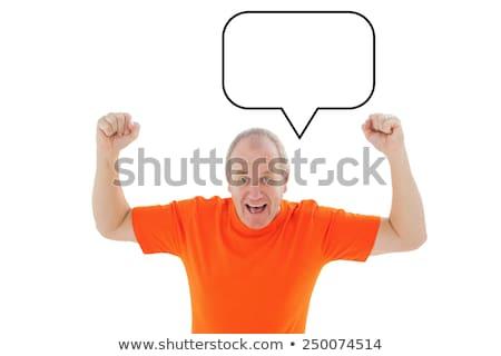 Volwassen man oranje tshirt juichen witte t-shirt Stockfoto © wavebreak_media