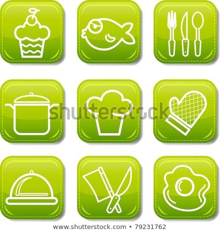 Vector graphic icon sticker set of prepared food Stock photo © feabornset